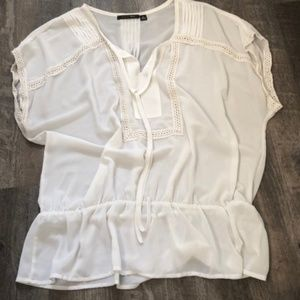 White Peplum Split Neck Top